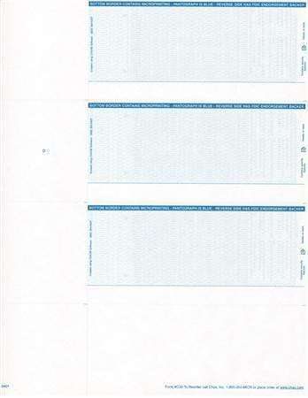C30 - 3 PER PAGE PERSONAL SIZE LASER CHECKS (NO STUBS) - PREMIUM SECURITY CHECKS (BLUE) - 300/PACK