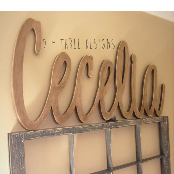 Large Painted Script Connected Wood Wall Name/Nursery Decor/Wooden Initials/Name Plaque/Wedding Name/Name Decor