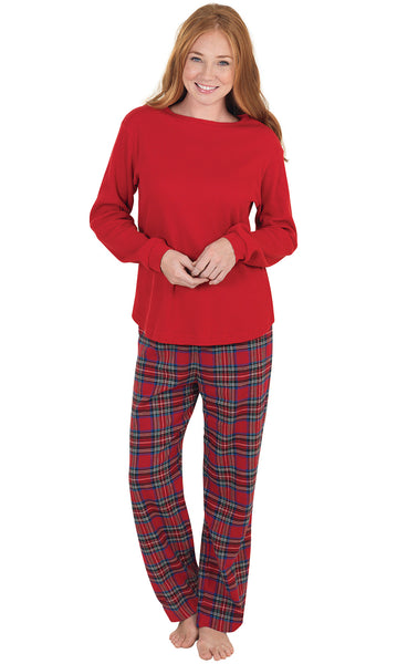PajamaGram Women's Classic Plaid Flannel Pajamas Long-Sleeved Top