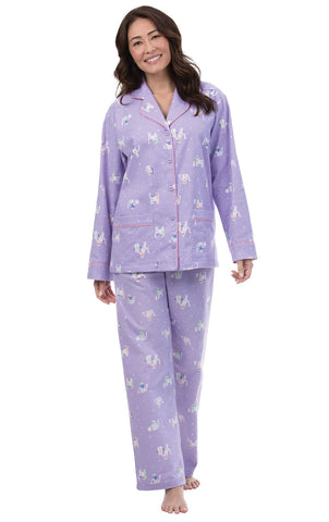 PajamaGram Women's Pet Lover Flannel Pajamas with Button-up Top