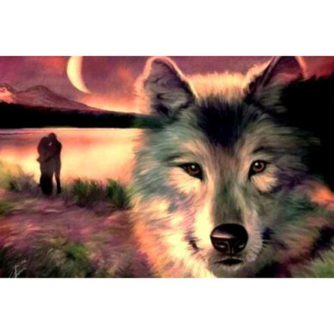 Image of Wolf in the seashore - DIY Diamond Painting