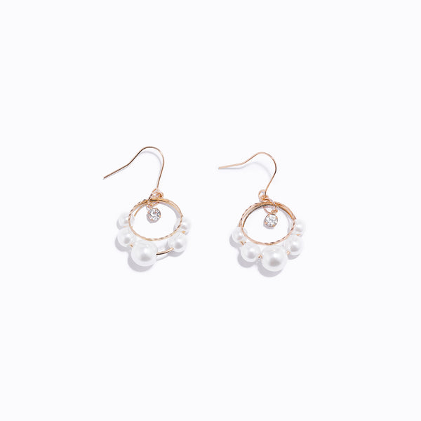 Gold-tone Pearl Chrome & Clear CZ Drop Earrings