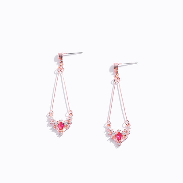 Clear CZ Red Gem Drop Earrings