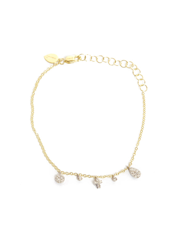 Cross and Bezels Bracelet - 14ct Yellow Gold