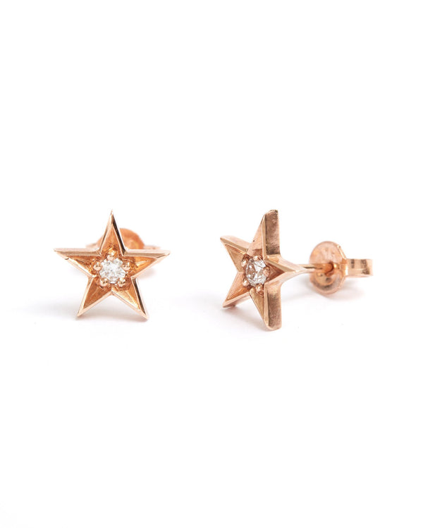 Star Diamond Studs - 9ct Rose Gold