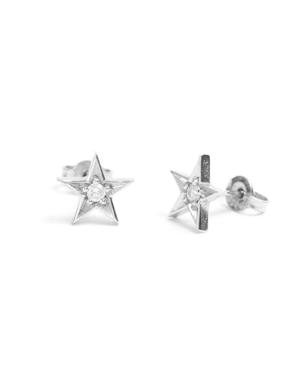 Star Diamond Studs - 9ct White Gold