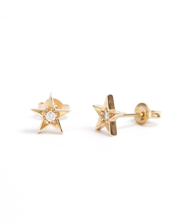 Star Diamond Studs - 9ct Gold