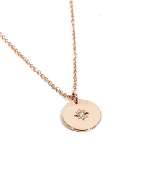 Sunray Diamond Necklace - 9ct Rose Gold