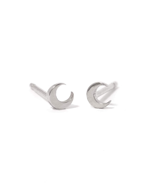 Tiny Moon Studs - Silver