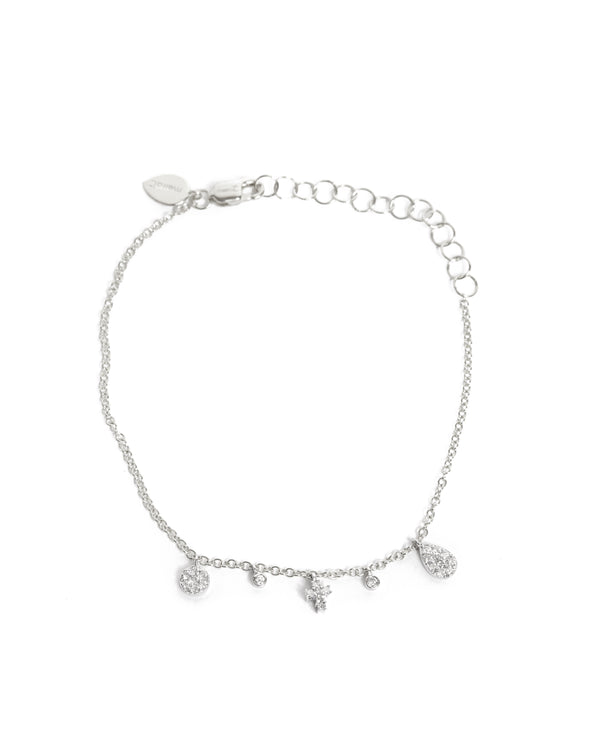 Cross and Bezels Bracelet - 14ct White Gold