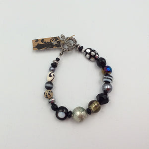 Beaded Bracelet - Black with Lg Indian Silver Hammered Bead