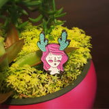 Cactus Prickly Girl with flowers, Soft enamel pin.