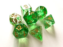 Green Mist with Gold Ink Translucent Swirl Dice Set