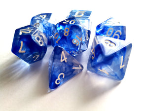 Blue Mist with White Ink Translucent Swirl Dice Set