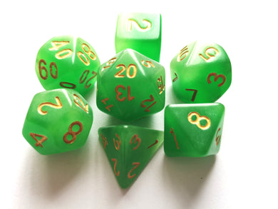 Green Dual Coloured Glow in the Dark Dice Set