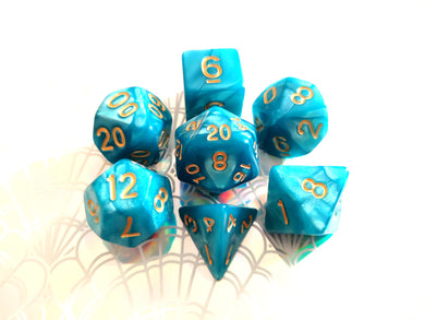Turquoise Blue Pearl Dice Set