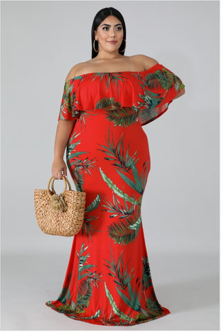 Red Floral Print Off-the-Shoulder Dress