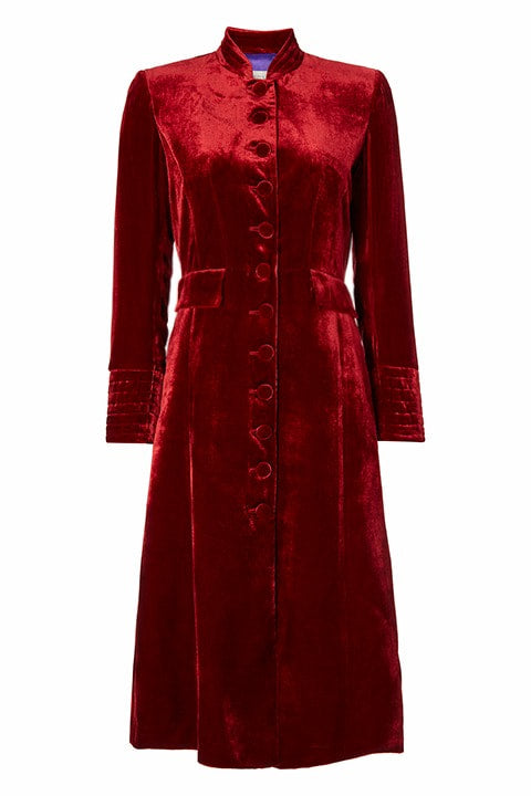 Neru Collar Coat in Ruby Velvet