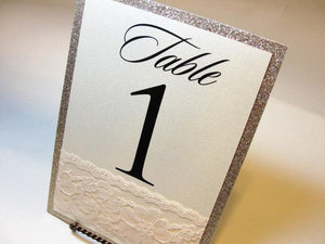 Lace Table Number Cards, Glitter Table Number Cards, Table Number Cards, Wedding Table Numbers, Vintage Table Numbers,  Table Numbers