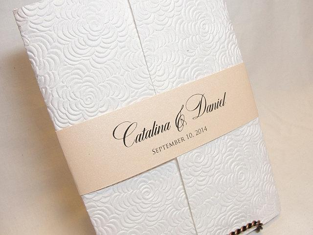 Wedding Invitation, Wedding Invite, Embossed Invitation, Indian Invitation, Bridal Shower Invite, White Wedding Invite, SARAHIE - 1