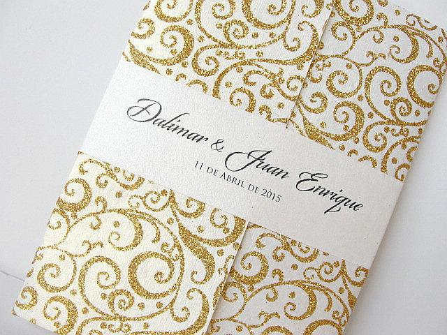 Wedding Invitation, Wedding Invite, Retro Invitation, Indian Invitation, Bridal Shower Invite, Gold Invitation, SARAHIE - 28