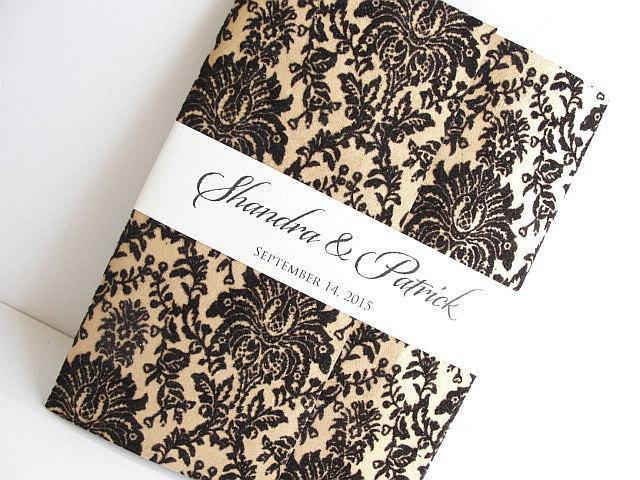 Wedding Invitation, Wedding Invite, Unique Invitation, Indian Invitation, Gold Damask Invite, Black and Gold, SARAHIE - 7