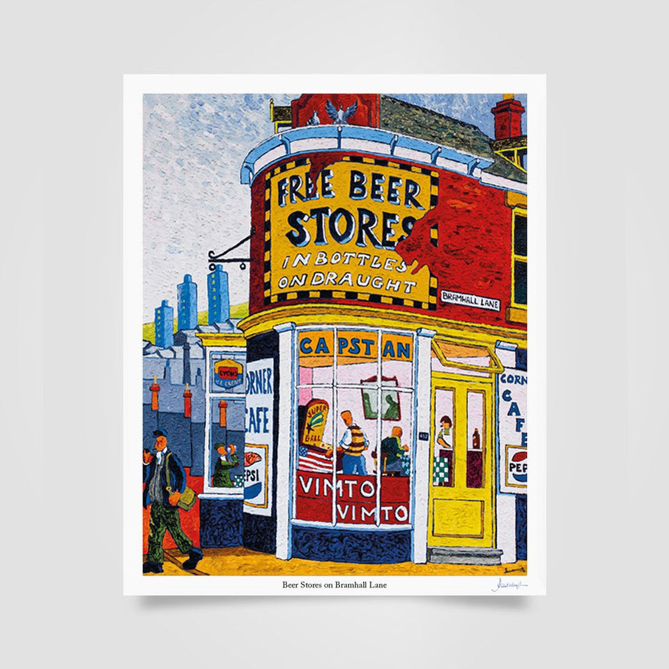Joe Scarborough Signed Art Print Beer Store on Bramall Lane