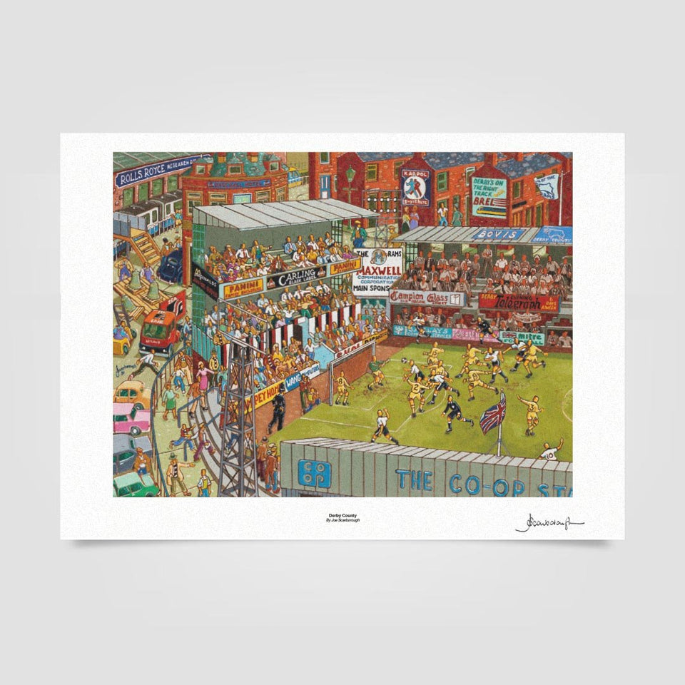 Joe Scarborough Signed Art Print Derby County