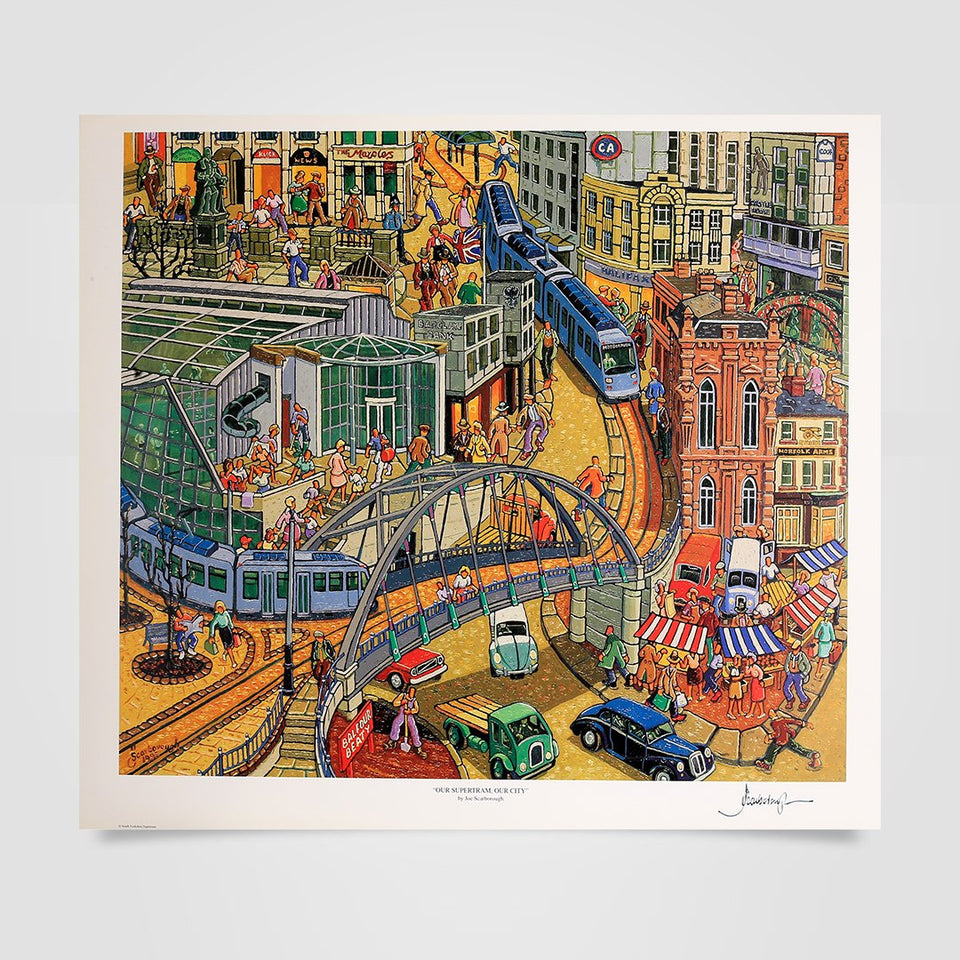 Joe Scarborough Signed Art Print Our Supertram, Our City