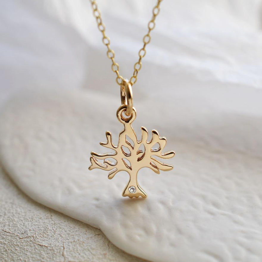 Personalised 9 Carat Gold and Diamond Tree Necklace - Lily Charmed