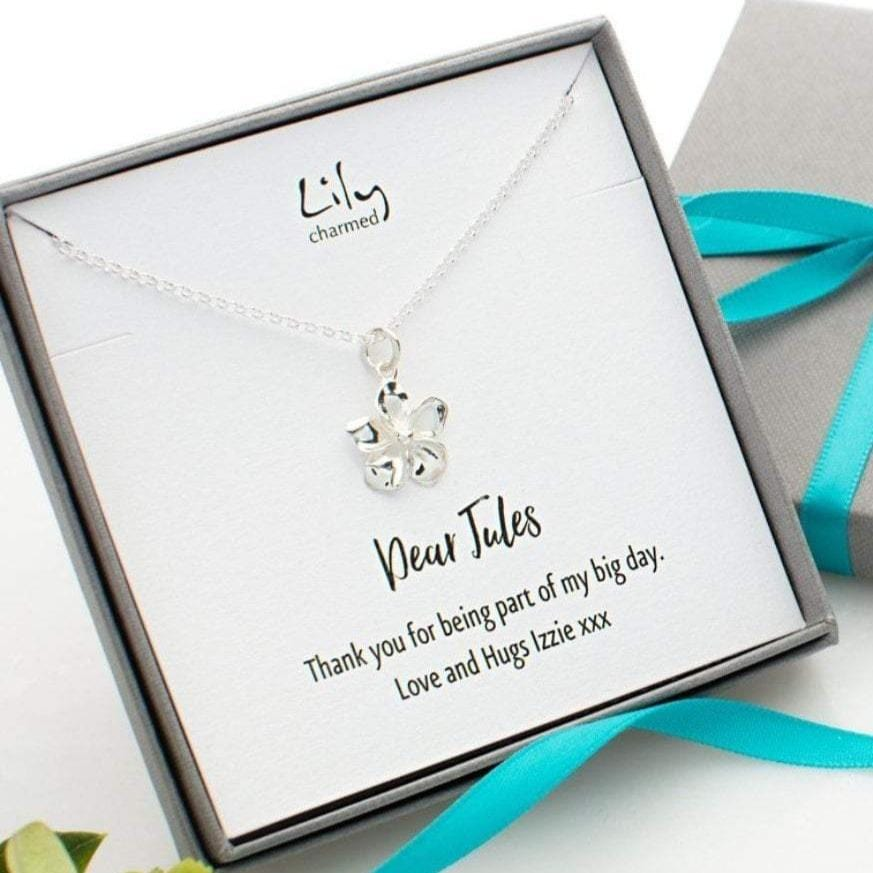 Personalised Silver Flower Necklace