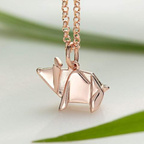 Personalised Rose Gold Plated Origami Pig Necklace - Lily Charmed