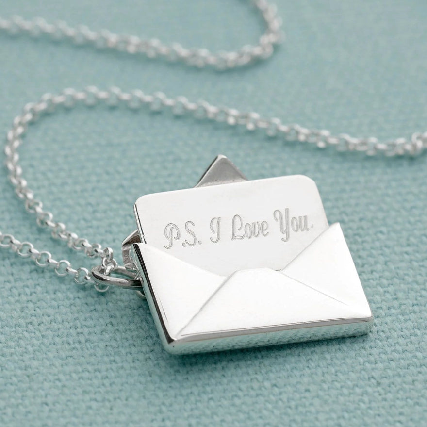 Personalised Silver Envelope Necklace with Engraved Insert