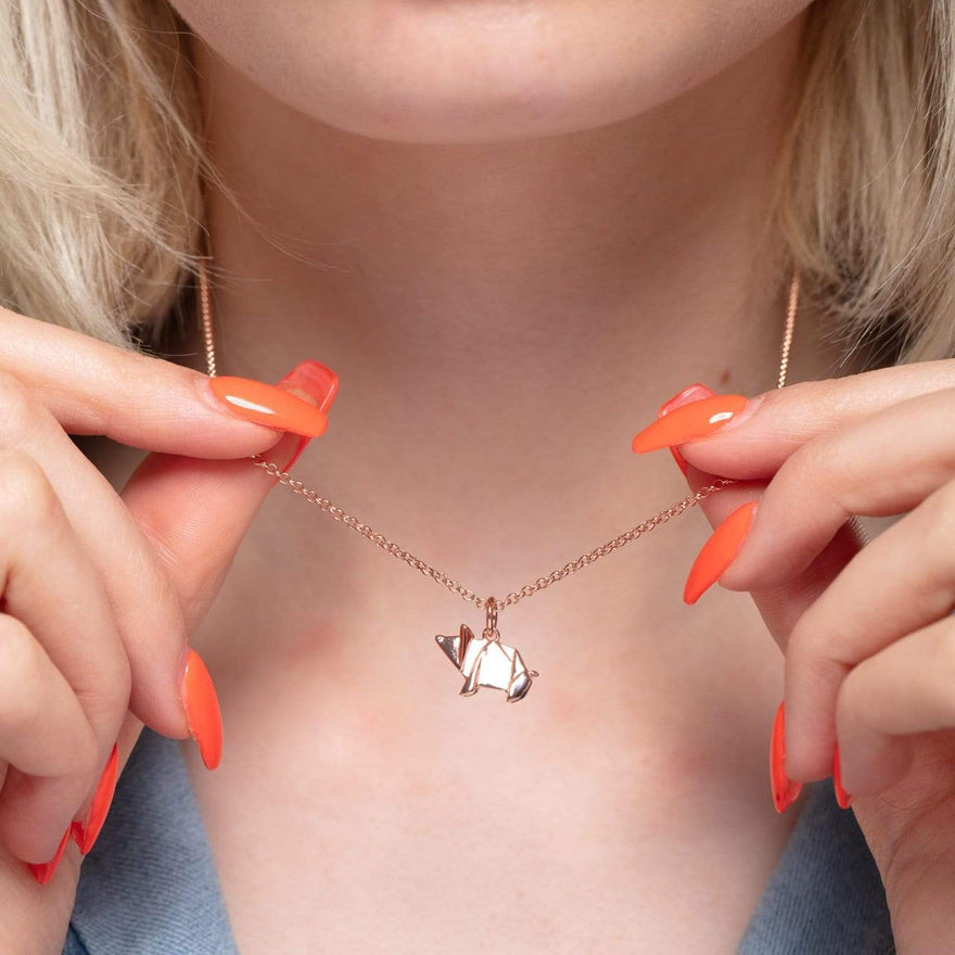 Personalised Rose Gold Plated Origami Pig Necklace