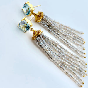 Blue Topaz & Labradorite Tassel Earrings