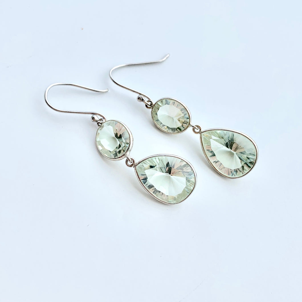 Green Amethyst double teardrop earring ss