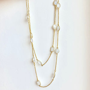 "36"" Moonstone and sterling silver with gold overlay necklace"