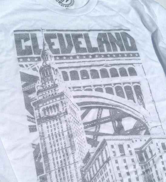 White/Silver Limited Edition Cleveland Bold Graphic T
