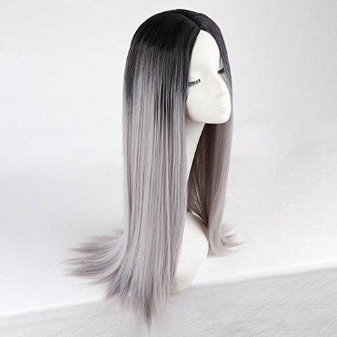 Long Straight Hair Two Tone  Wig Heat Resistant Fiber Synthetic Wigs - beautygiantusa.com