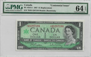 1967 $1 REPLACEMENT Centennial Bank of Canada Note CH64 EPQ PMG Graded