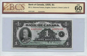 RARE 1935 $1 Bank of Canada UNC60 RARE to find in this condiiton !