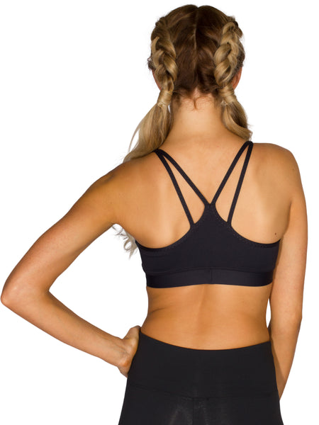 DOUBLE STRAP SUPPORT LOCALLY MADE SPORTS BRA - BLACK