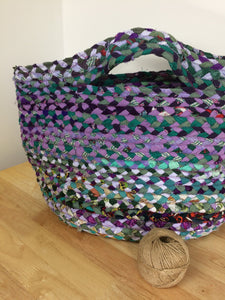 Medium braided basket purple and green