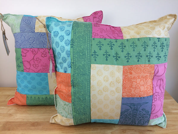 Handprinted fabric patchworked into cushions