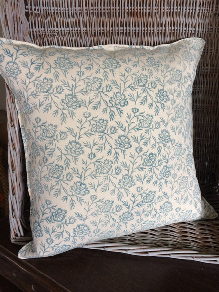 Rose pattern linen and wool cushion