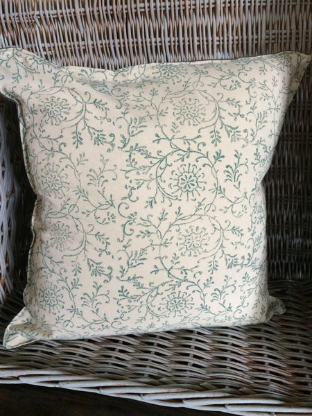 Hand printed vine pattern linen cushion