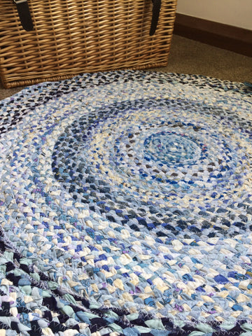 Coastal blues braided rug