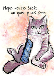 Hope You're Back On Your Paws - Cat Get Well Card