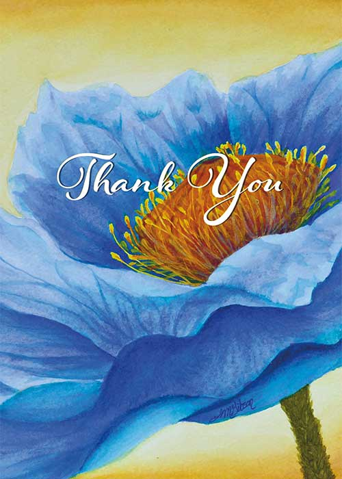 Blue Flower Thank You Card
