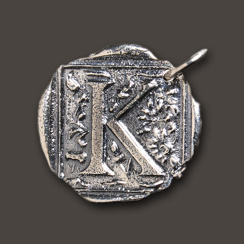 "Square Insignia Charm ""K"" by Waxing Poetic"